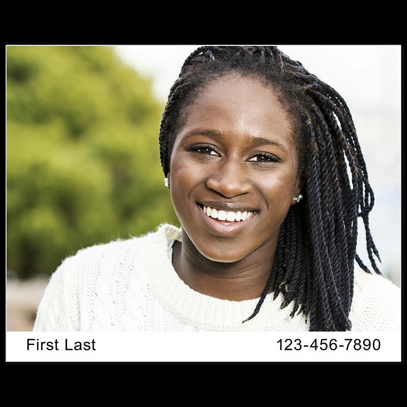 Headshot Style O - Name & Phone Number